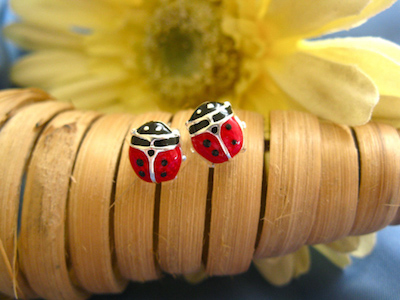 Ladybird earrings for luck