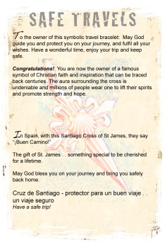 Safe Travel bracelet info