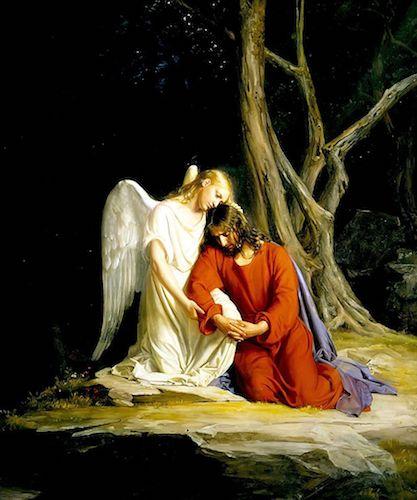 Guardian Angel comforting Jesus