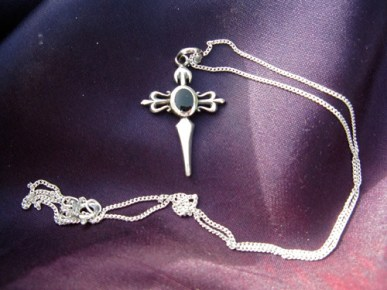 Real azabache black jet stone jewelry cross