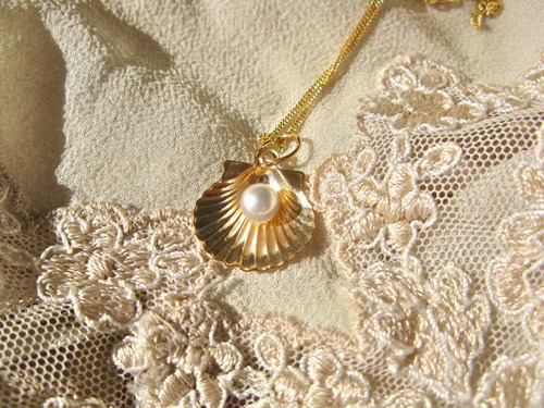 Gold scallop shell necklace as Birthday gift