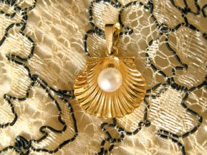 Gold gift anniversay present shell and pearl