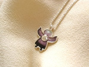 Angel charm necklace - guardian angel scallop shell