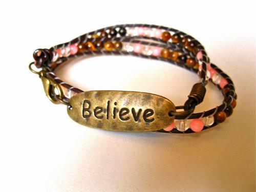 Coral believe bracelet
