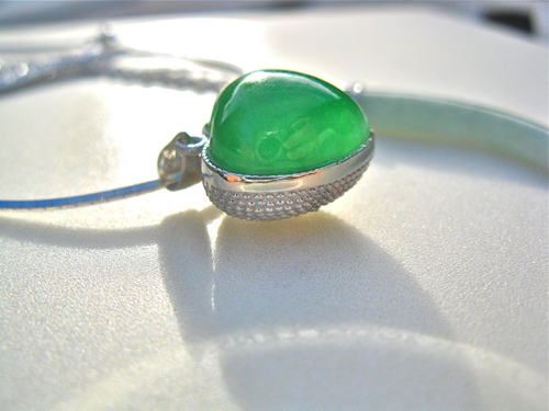 Green Jade heart in silver clasp
