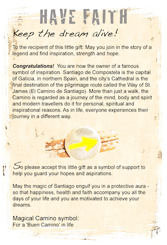 Camino Santiago arrow symbol for faith