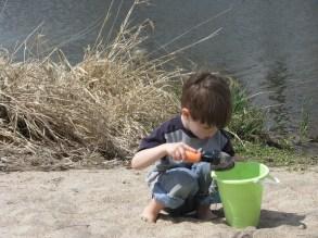 Bucket, shovel, sand, happiness.