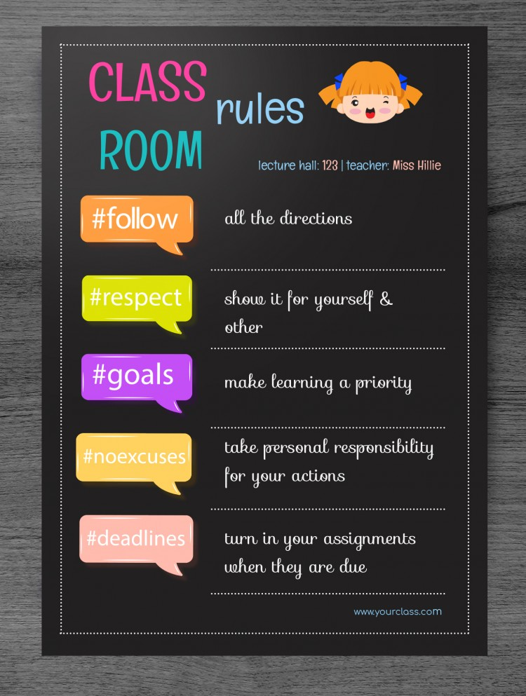 free classroom rules poster template in
