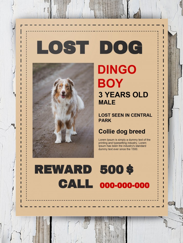 lost dog poster template in google docs