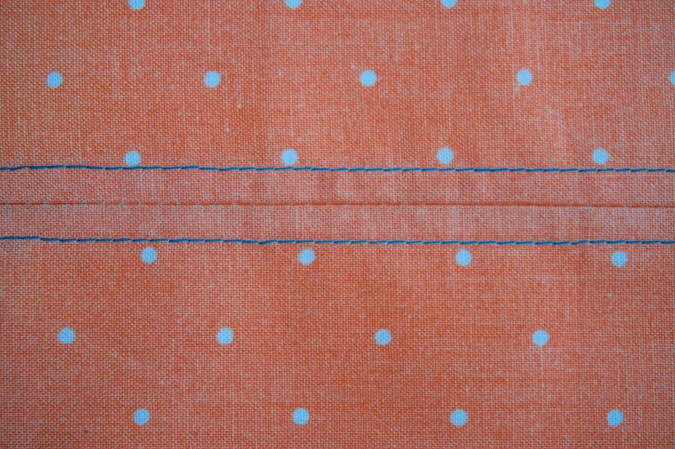 Close up showing the texture of the topstitch.