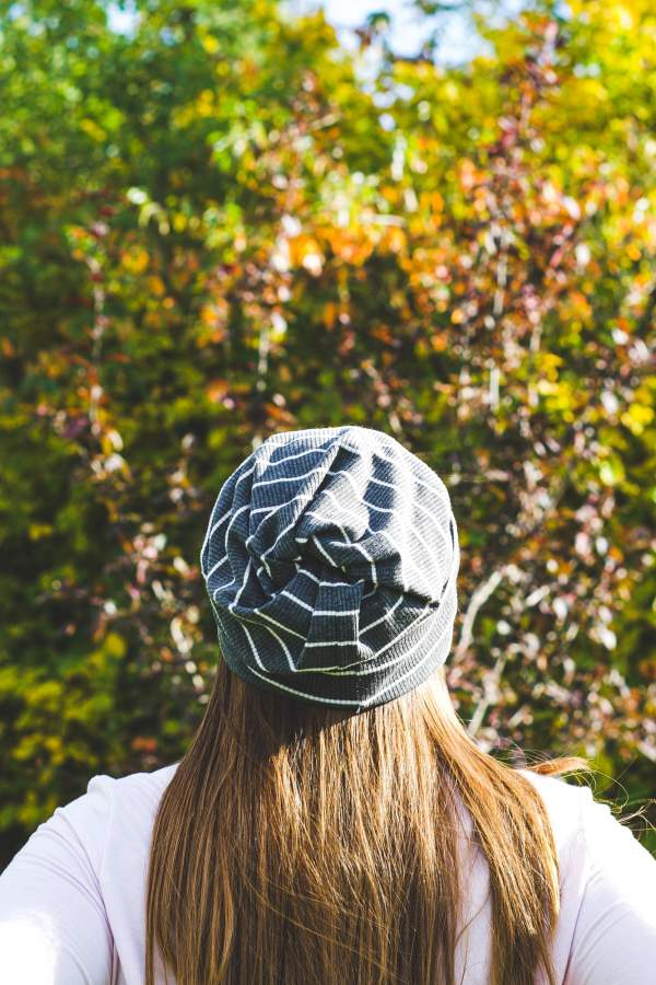Looking at the back of a Ryley twist top beanie.