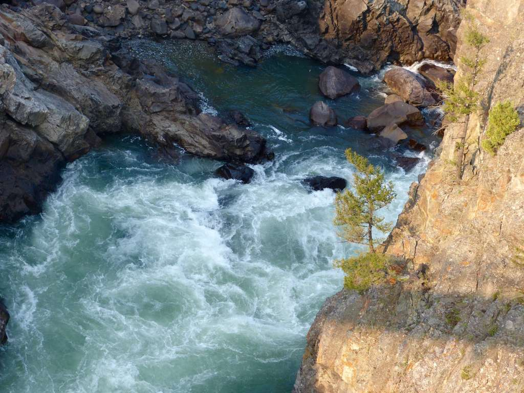 View of Yellowstone River from suspension footbridge