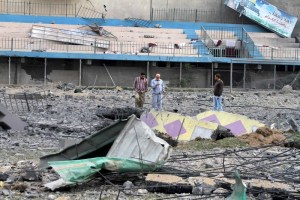 The debris of the Palestine Sports Stadium in Gaza City.
