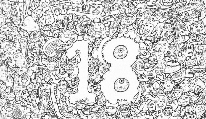 Gambar Doodle Angka