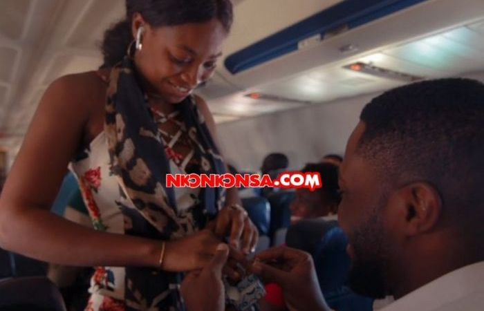 Osei Kwame Despite's Son, Kennedy, Proposes Marriage To His Beautiful Girlfriend, Tracy, On A Plane