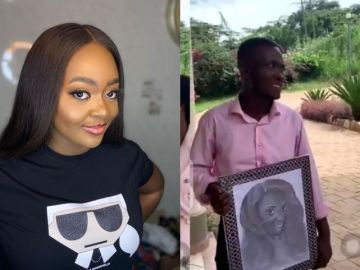 Twitter Trolls Kumasi Guy Who Proposed To Jackie Appiah With A Wack Portrait Of Her