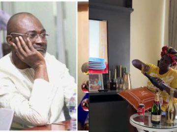 VIDEO: Tracey Boakye Celebrates And Pops Moet Champagne On Kennedy Agyapong's Head After He Couldn't Release Her Secret Video