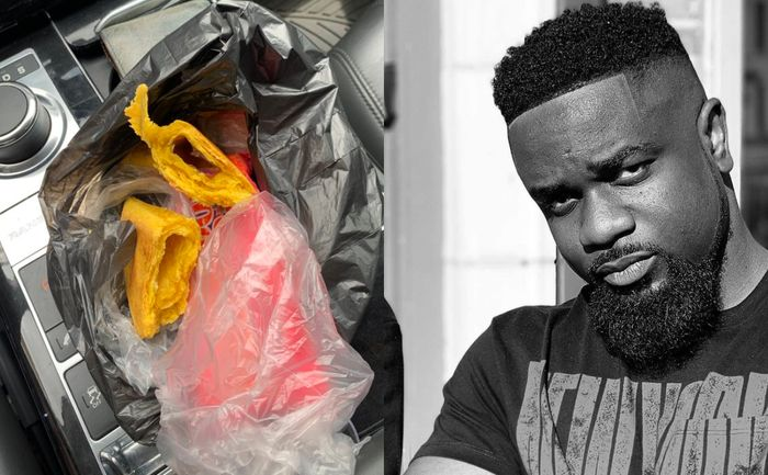 PHOTO: Confused Sarkodie Complains To Fan Yogo About Lack Meat In His Ghc2 Meat Pie