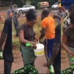 Video: Woman Uses Bucket To Fetch Beer From An Accident Scene