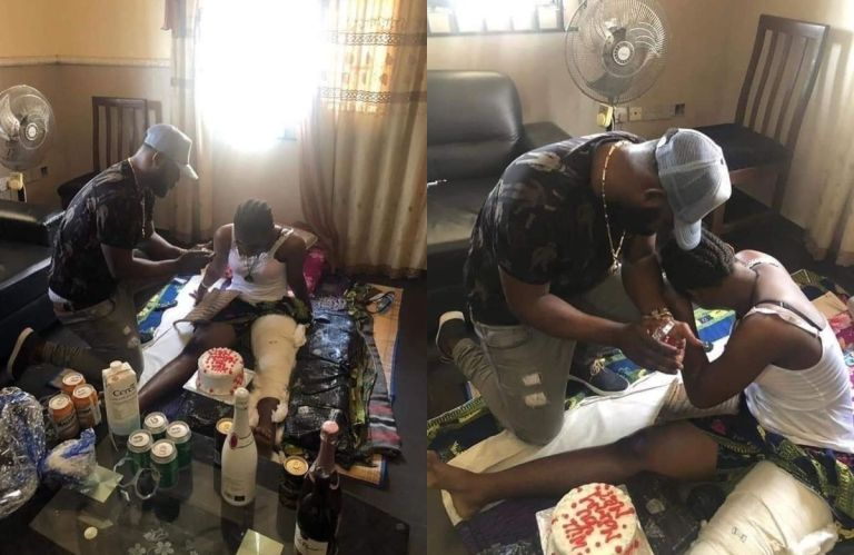 PHOTOS: Young Ghanaian Man Proposes To His Girlfriend Who's Bedridden As A Result Of A Car Accident