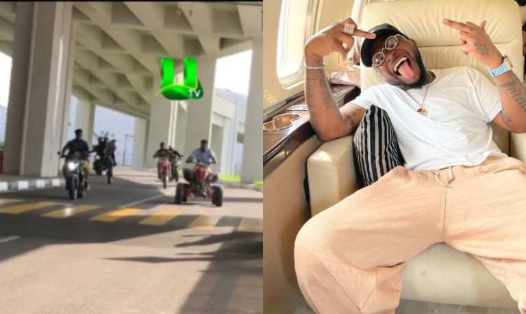 VIDEO: Ghanaian Bikers Display Their Biking Skills As Davido Arrives In Ghana For The Second Time
