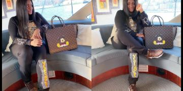 PHOTOS: As Usual, Tracey Boakye Rocks A Fake Gucci Handbag With A Big Sticker Of A Mickey Mouse On Pasted It