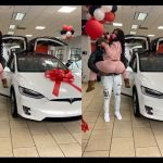 PHOTOS: Beautiful Lady Gets Brand New Tesla Model X As Val's Day Gift From Her Man