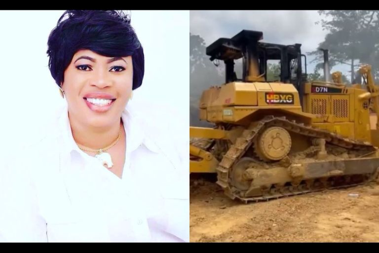 VIDEO: 8 Excavators Reportedly Belonging To NPP's National Women's Organizer, Kate Gyamfua, Burnt By Galamsey Task Force