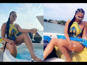PHOTOS: Sandra Ankobiah Goes Chilling On A Miami Beach And We Ask, Who's This Anonymous Person Behind Her Photos?