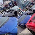 VIDEO: 'Big Boys' In Accra Hit The Streets With Their Expensive Lamborghini, Ferrari And Other Sports Cars To Celebrate Their Success