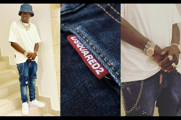 BUSTED! Shatta Wale Rocks A Fake DSquared2 Jeans Which He Probably Bought At Kantamanto For Ghc12