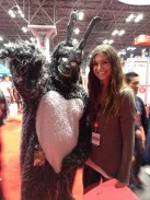 "Posing with Frank from the film ""Donnie Darko"" at the NY Comic Con."