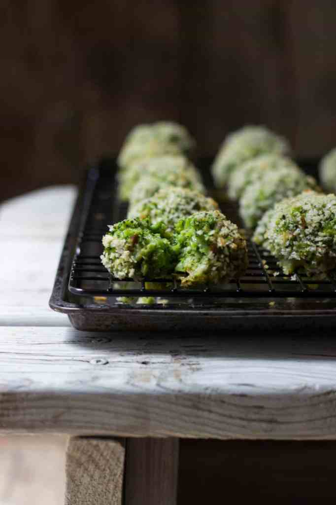 Broccoli cheddar bites on a tin