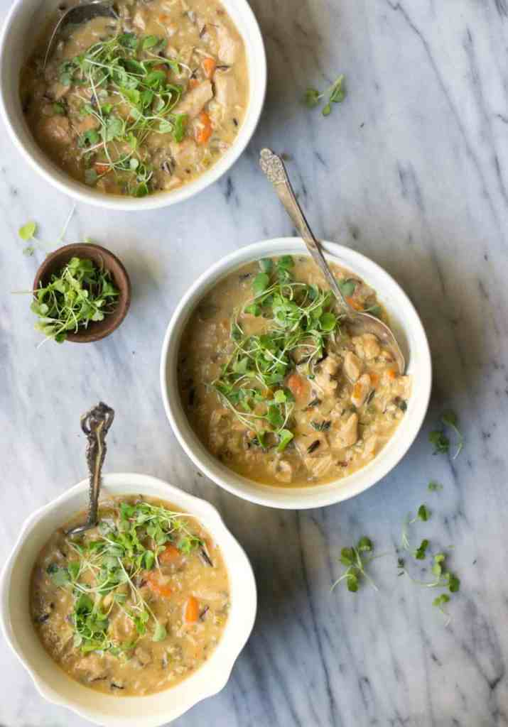 Chicken & Wild Rice Soup in white bowls.