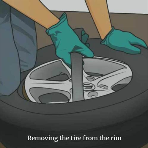 Removing the tire from the rim