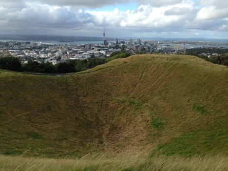 Mt Eden, a dormant volcano overlooking Auckland has an amazing view from the top. The crater specifically said no mountain biking though!