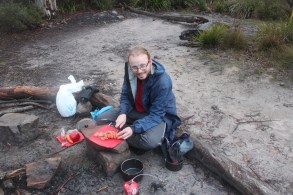 Cooking dinner at Corang Lagoon - my chorizo and veggie cous cous went down a treat.