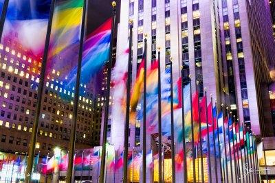 Flags at Rockefeller Center.