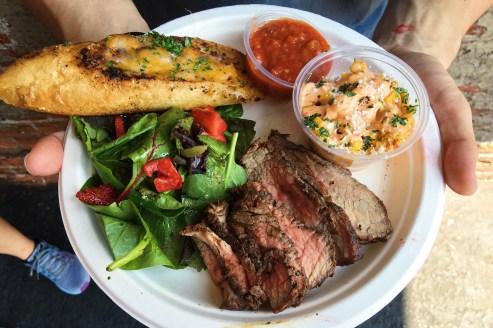 The Plate - Tri Tip BBQ, Salad, Cheesy Bread, Salsa, Esquites