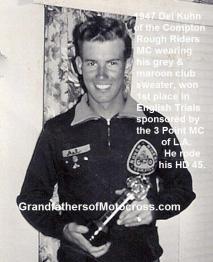 1947 a2a Compton Rough Rider MC member Del Kuhn & 1st trophy English Trials HD 45 Class