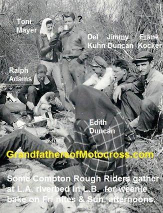 1947 a5 Compton Rough Riders MC at L.A. Riverbed, Ralph Adams, Jimmy Duncan, Del Kuhn, Toni Mayer, Frank Kocker