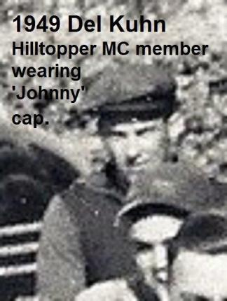 1949 c. HillToppers mc, CLOSE UP of Del Kuhn way in back wearing sporty cap