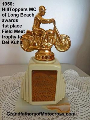 1950 5-7 b1 Trophy from Hilltoppers MC Field Meet Winner DEL KUHN