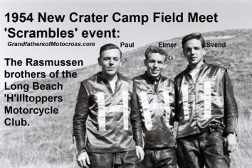 1954 The Rasmussen brothers, Paul, Elmer, Svend at new Crater Camp FIELD MEET at Scrambles
