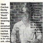 1949 10-9 a3 Cactus Derby winner Huck Kuzen wearing aluminum helmet