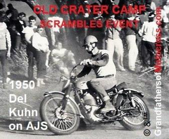 1950 Del Kuhn rides at Old Crater Camp, Scrambles event on AJS Competition Model (2)