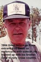 Ekins, Bud (AMA) 1984 on cycle with side car in Great American Race