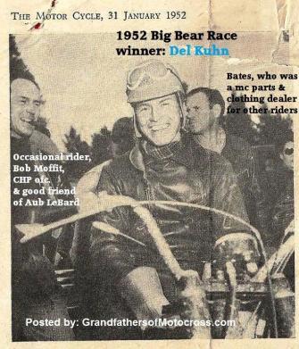 Moffit, Bob & Kuhn, Del (AMA) 1952 Kuhn wins Big Bear, Bates