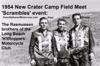 Rasmussen brothers 1954 Rasmussen Paul, Elmer, Svend at new Crater Camp FIELD MEET at Scrambles