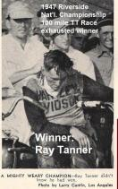 1947 9-1a13 Ray Tanner wins 100 mile NATIONAL TT Riverside, Brokaw article, Kuhn as spectator - Copy